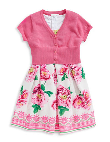 Iris & Ivy Two-Piece Rose Dress and Cardigan Set-PINK-2T