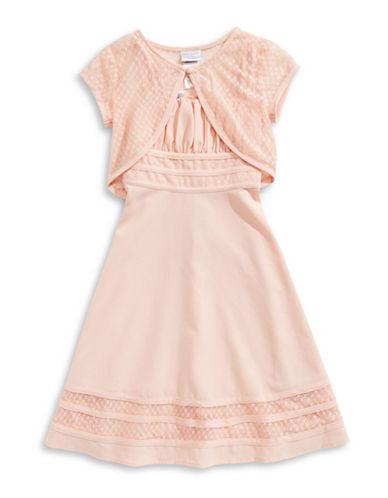Iris & Ivy Two-Piece Lace Bolero and Dress Set-ORANGE-7
