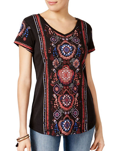 Style And Co. Petite Printed Shirttail Hem Top-BLACK MULTI-Petite Medium