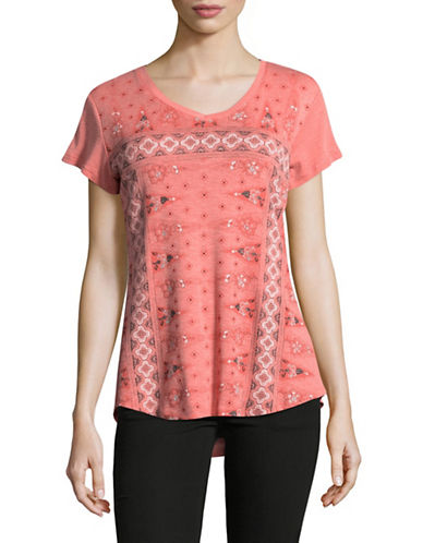 Style And Co. Front Graphic Tee-CORAL-Medium