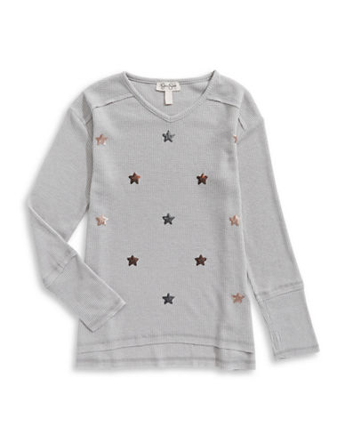 Jessica Simpson Bead Accent Long-Sleeve Tee-GREY-Small