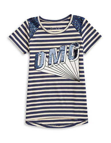 Jessica Simpson Striped Hi-Lo Graphic Tee-BLUE-Small