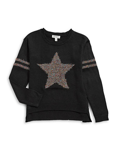 Jessica Simpson Tinsel Star Sweater-BLACK-Medium