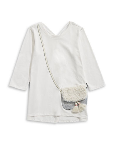 Jessica Simpson Tassel Handbag Applique Top-WHITE-Large