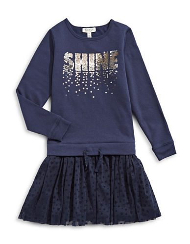Jessica Simpson Shine Sequin Sweater Dress-PURPLE-Large