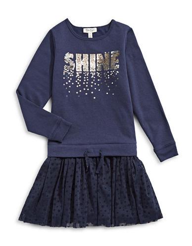 Jessica Simpson Shine Sequin Sweater Dress-PURPLE-Medium
