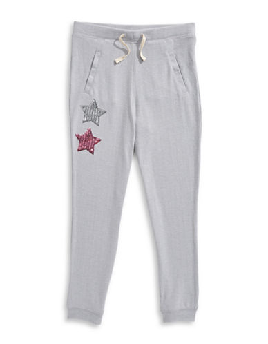 Jessica Simpson Sequined Star Detail Jogger Pants-GREY-Large