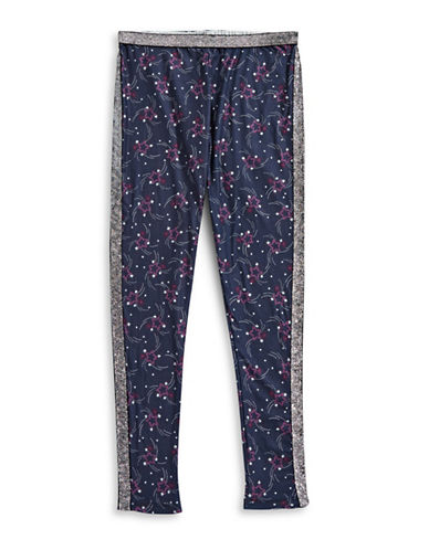 Jessica Simpson Glitter Graphic Leggings-BLUE-Large