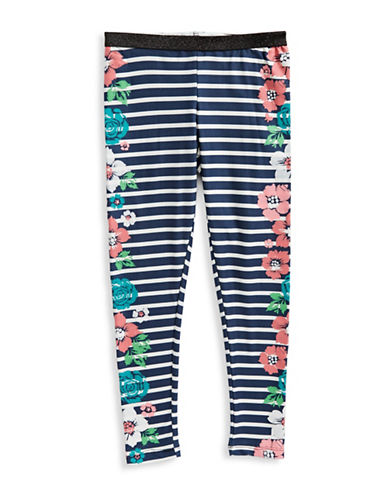 Jessica Simpson Floral Striped Leggings-BLUE-Medium