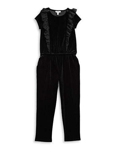 Jessica Simpson Ruffle Velvet Romper-BLACK-X-Large