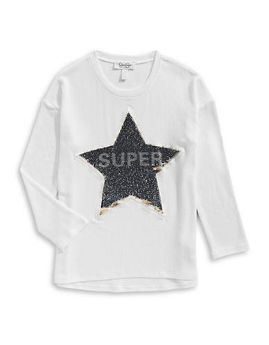 Jessica Simpson Sequined Graphic Long-Sleeve Tee-WHITE-X-Large