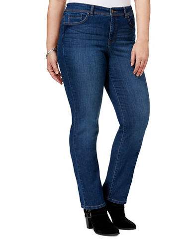 Style And Co. Plus Tummy Control Straight-Leg High-Rise Jeans-BLUE-16W