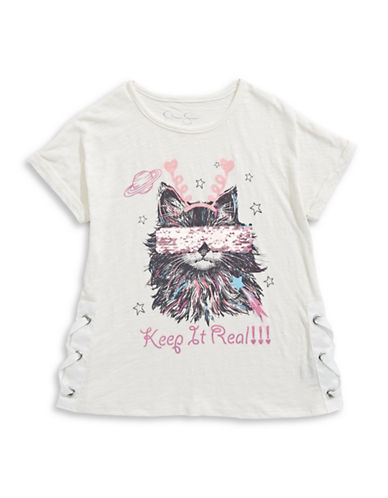 Jessica Simpson Philo Movie Cat Gard Tee-WHITE-Small