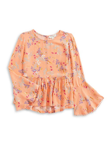 Jessica Simpson Floral Bell-Sleeve Top-ORANGE-X-Large