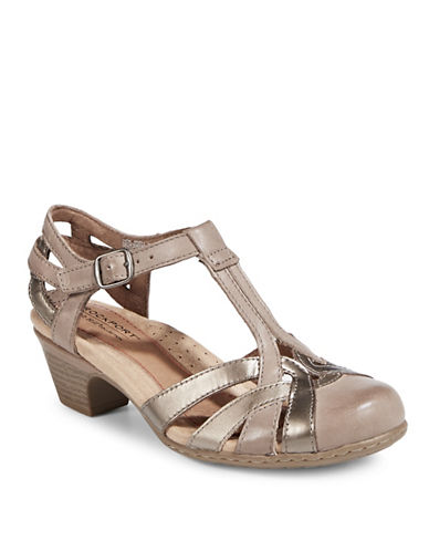 Rockport Cobb Hill Round Toe Leather T-Strap Sandals-BEIGE-7.5