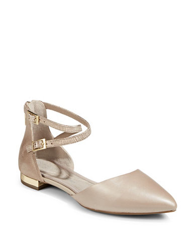 Rockport Strappy Leather Flats-DOVE-8.5