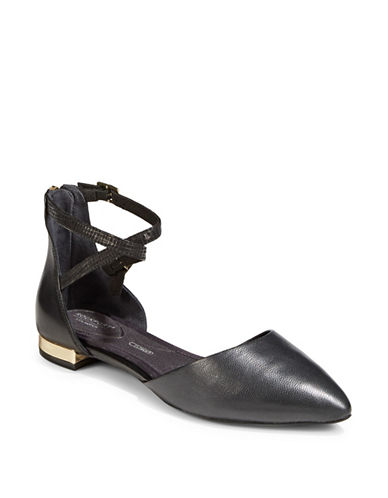 Rockport Strappy Leather Flats-BLACK-9.5