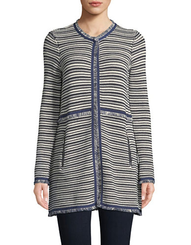 Ivanka Trump Long-Sleeve Knit Fringe Cardigan-NAVY-X-Small