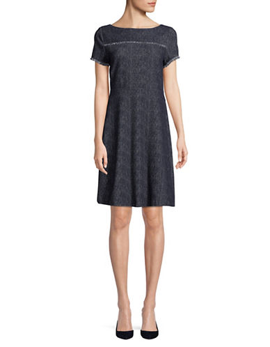 Ivanka Trump Short-Sleeve Fringe Drapey Denim Dress-NAVY-10