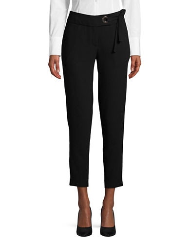 Ivanka Trump Tie Waist Crepe Pants-BLACK-2
