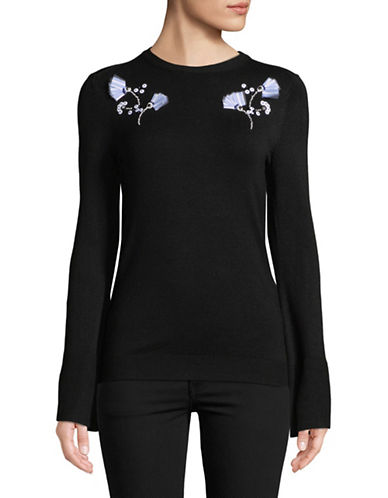 Ivanka Trump Long-Sleeve Rose Embroidery Pullover-BLACK-Small