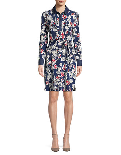 Ivanka Trump Paper Flower Knit Shirtdress-NAVY-X-Small