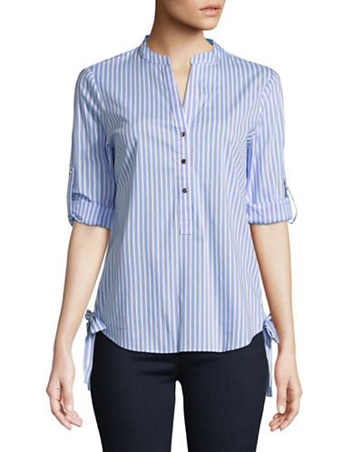 Ivanka Trump Roll Tab Side Bow Stripe Blouse-BLUE-Large