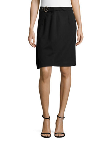 Ivanka Trump Asymmetric Buckle Slim Skirt-BLACK-2