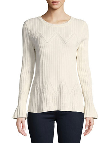 Ivanka Trump Long-Sleeve Chevron Rib-Knit Top-BISQUE-X-Large