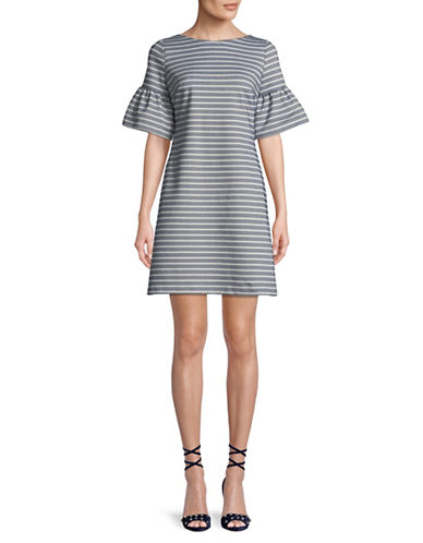 Ivanka Trump Striped Ponte Shift Dress-NAVY/IVORY-10