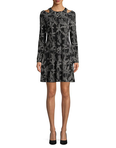 Ivanka Trump Long Sleeve Cut-Out Shoulder Dress-BLACK-Medium