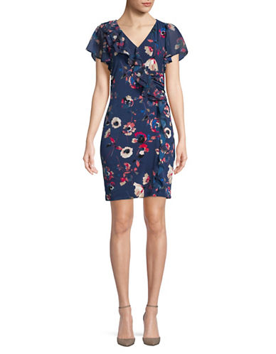 Ivanka Trump Chiffon Ruffle Printed Dress-NAVY-X-Small