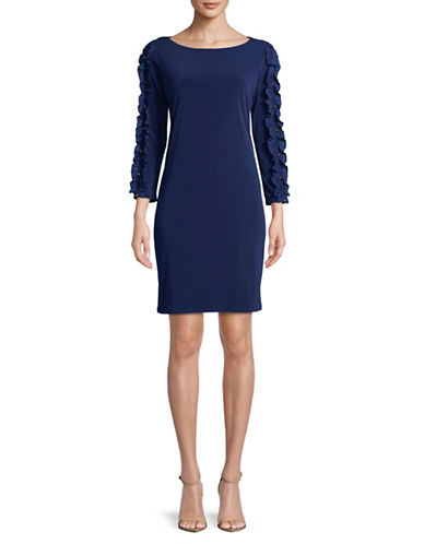 Ivanka Trump Ruffle-Sleeve Jersey Shift Dress-NAVY-Small