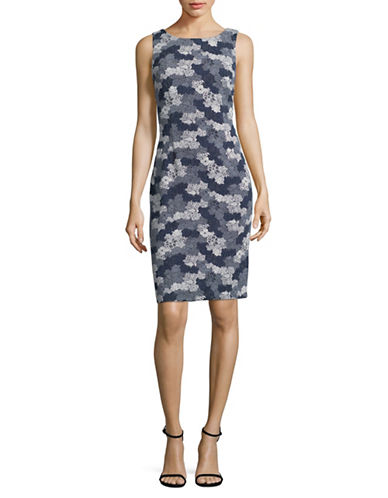 Ivanka Trump Tricolour Floral-Print Sheath Dress-NAVY-12