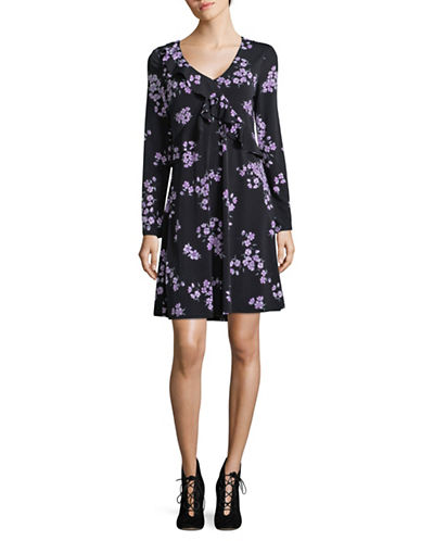 Ivanka Trump Ruffle-Front A-Line Dress-BLACK-X-Large