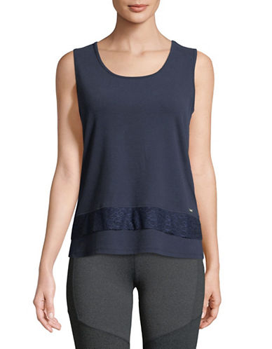 Ivanka Trump Lace-Trimmed Tank Top-NAVY-X-Small