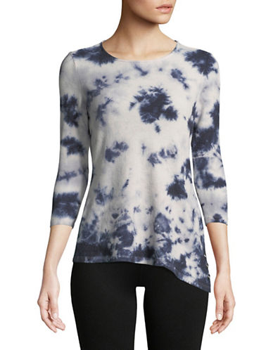 Ivanka Trump Tie-Dyed Asymmetrical Tee-NAVY-Large