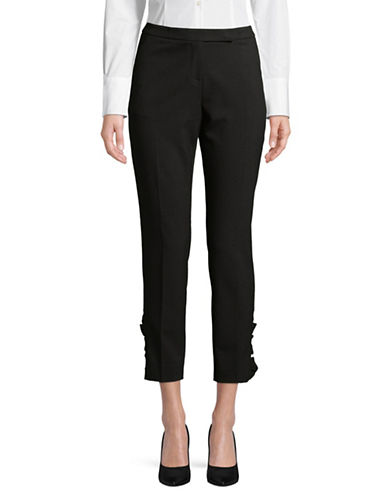Ivanka Trump Ruffled Ankle Pants-BLACK-2