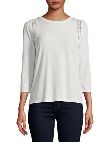 Ivanka Trump Three-Quarter Sleeve Embroidered Detail Knit Top-WHITE-Small