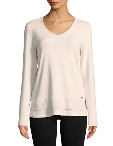 Ivanka Trump Lace-Trimmed Layered Tee-BLUSH-Medium