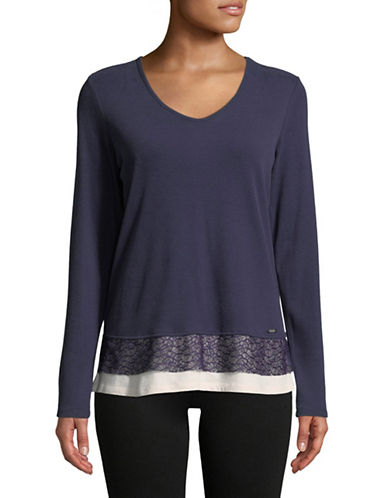 Ivanka Trump Lace-Trimmed Layered Tee-NAVY-Large