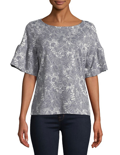 Ivanka Trump Short-Sleeve Abstract Floral Knit Top-BLUE-X-Large