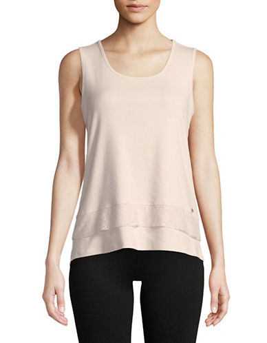 Ivanka Trump Lace-Trimmed Tank Top-BLUSH-Large