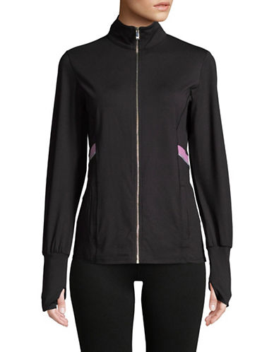 Ivanka Trump Mock Neck Full-Zip Jacket-BLACK-Small