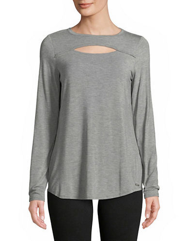 Ivanka Trump Cut-Out Long Sleeve Top-GREY-X-Small