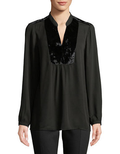 Ivanka Trump Velvet Trim Blouse-BLACK-X-Large