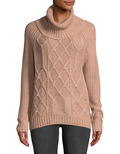 Ivanka Trump Cable Knit Embellished Pullover-PINK-X-Large
