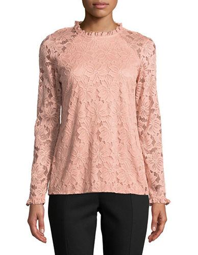 Ivanka Trump Floral Lace Knit Top-PINK-X-Small 89664694_PINK_X-Small