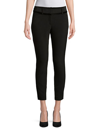 Ivanka Trump Velvet Trim Slim Pants-BLACK-8