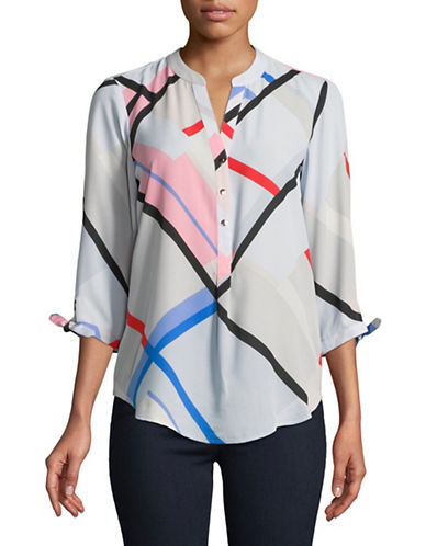 Ivanka Trump Long-Sleeve Picnic Plaid Blouse-MULTI-Small